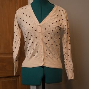 Tan & Brown Heart Modcloth Cardigan
